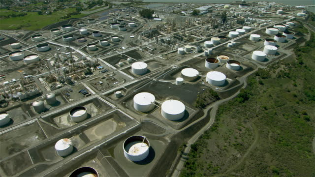 Wide shot aerial view of Rodeo San Francisco Refinery, an oil refinery located in the San Francisco Bay Area.