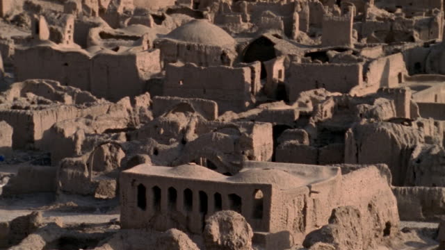 1999 wide shot ancient adobe ruins remaining in citadel of bam/ bam, kerman province, iran - adobe stock videos & royalty-free footage