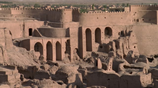 1999 wide shot ancient adobe ruins remaining in citadel of bam/ bam, kerman province, iran - 6th century bc stock videos and b-roll footage