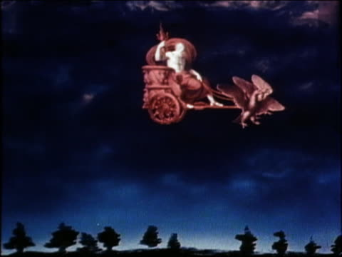 1975 wide shot animation of zeus riding across sky in chariot /  audio - god stock videos & royalty-free footage