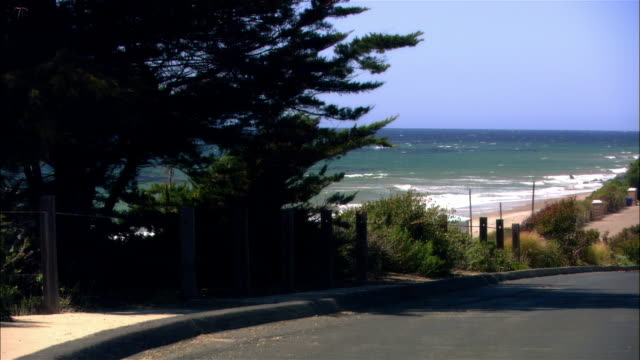 vidéos et rushes de wide shot birds sitting on rock on beach as tide comes in/ malibu, california - océan pacifique nord