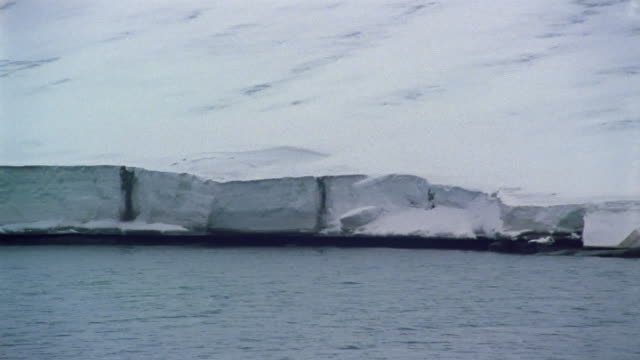 wide shot boat point of view pan edge of ice shelf or ice wall / arctic - nick berg stock videos & royalty-free footage