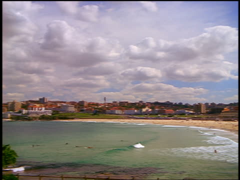 wide shot PAN Bondi Beach / Sydney, New South Wales, Australia