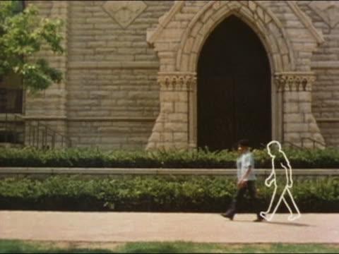 vídeos y material grabado en eventos de stock de 1982 wide shot boy growing into man as he walks / animation outlines of various stages of growth - masculinidad