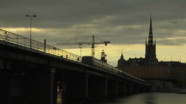 wide shot bridge stockholm sodermanland sweden - 尖り屋根点の映像素材/bロール