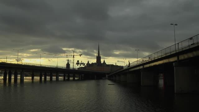 wide shot bridge stockholm sodermanland sweden - famous place stock videos & royalty-free footage