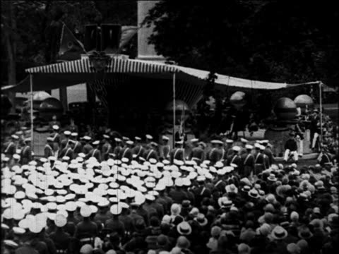 vídeos y material grabado en eventos de stock de b/w 1920 wide shot cadets in graduation ceremonies / west point ny / documentary - instituciones y organizaciones educativas