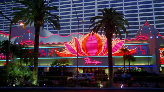 wide shot car point of view driving past flamingo hotel and casino at night / las vegas - flamingo hilton stock videos & royalty-free footage