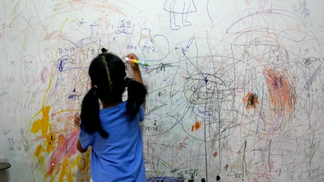 wide shot : child writting on wall of house - writing activity stock videos & royalty-free footage