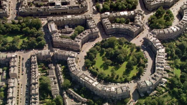 Wide shot circular Georgian layout in New Town / Edinburgh, Scotland