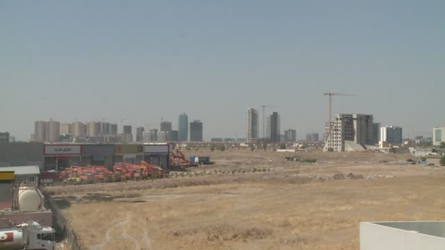 Wide shot city of Erbil with construction projects
