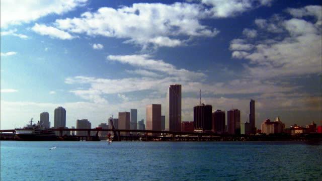 Wide shot city skyline and Biscayne Bay / Miami, Florida