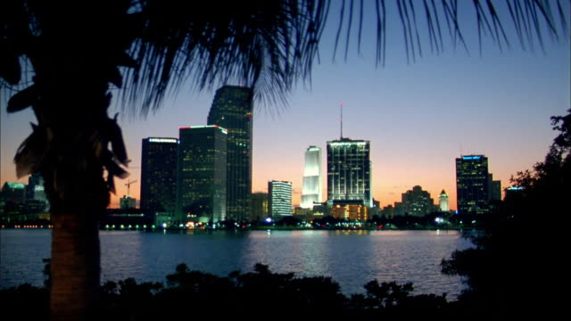 wide shot city skyline at twilight w/trees and bay in foreground / miami, florida - miami stock videos & royalty-free footage