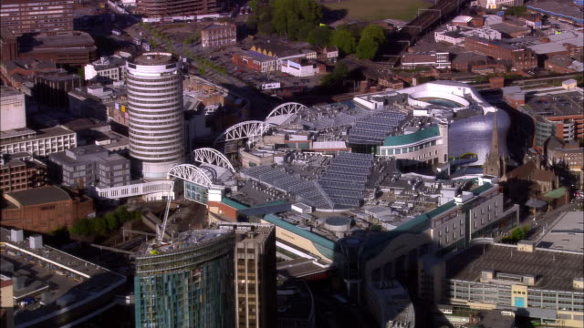 wide shot city surrounding bullring shopping centre/ birmingham, england - birmingham england stock videos & royalty-free footage