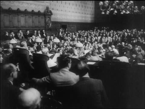 b/w 1945 wide shot crowded courtroom for petain's war crimes trial / paris / newsreel - war crimes trial stock videos and b-roll footage