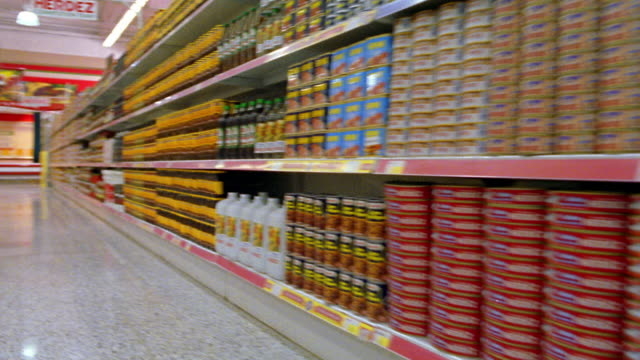 wide shot dolly shot shopping cart point of view passing canned goods on shelves in aisle of grocery store - shelf stock videos and b-roll footage