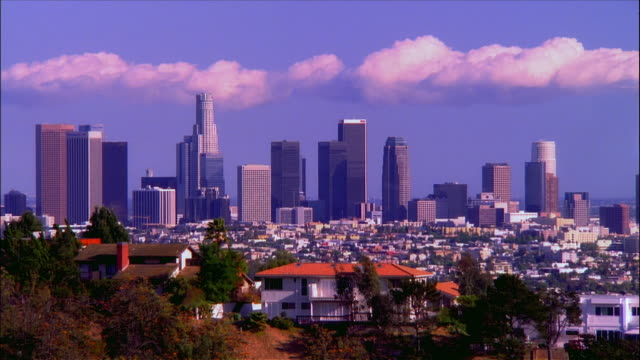 Wide shot downtown skyline as seen from the Hollywood Hills / Los Angeles, California