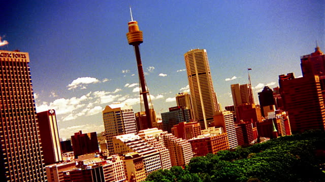 wide shot downtown sydney with amp tower / australia - downtown stock videos & royalty-free footage