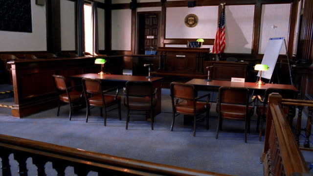 wide shot empty courtroom - court room stock videos & royalty-free footage