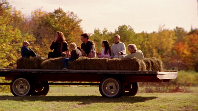 wide shot family taking hayride in wagon - hay stock videos & royalty-free footage