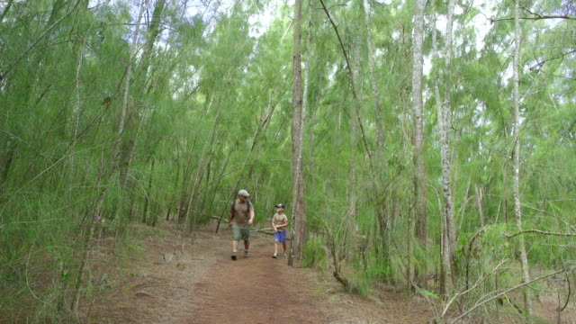 stockvideo's en b-roll-footage met wide shot father and son hike in hawaii - baseballpet