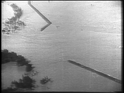 AERIAL wide shot flood waters of Mississippi River / newsreel