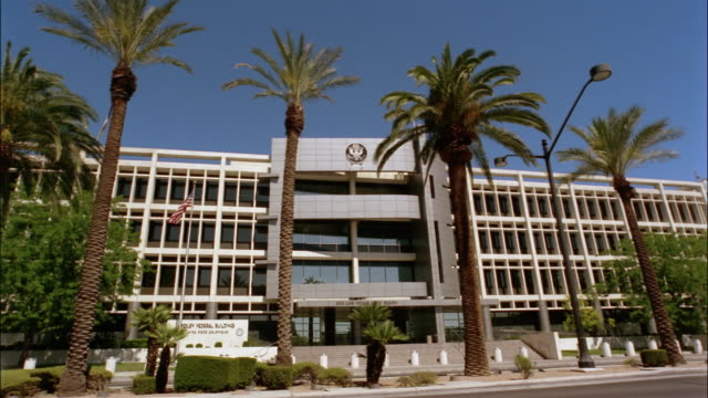 wide shot foley federal building and united states courthouse/ las vegas, nevada - government building stock videos and b-roll footage