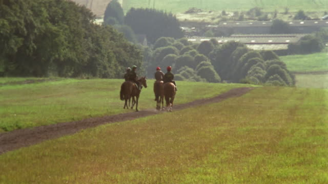 vídeos de stock e filmes b-roll de wide shot four people riding horses off into field/ berkshire, england - berkshire inglaterra