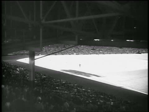 b/w 1947 wide shot from stands at ebbets field / brooklyn ny / newsreel - ebbets field video stock e b–roll