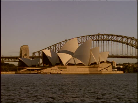 wide shot PAN from Sydney Opera House + bridge to city skyline + back / New South Wales, Australia