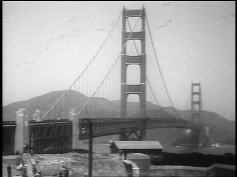 b/w 1937 wide shot golden gate bridge at grand opening / san francisco ca / newsreel - golden gate bridge stock videos & royalty-free footage