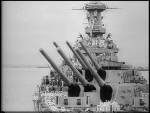 b/w 1945 wide shot guns of military ship uss missouri in tokyo bay at surrender of japan / ww ii / news - uss missouri stock videos and b-roll footage