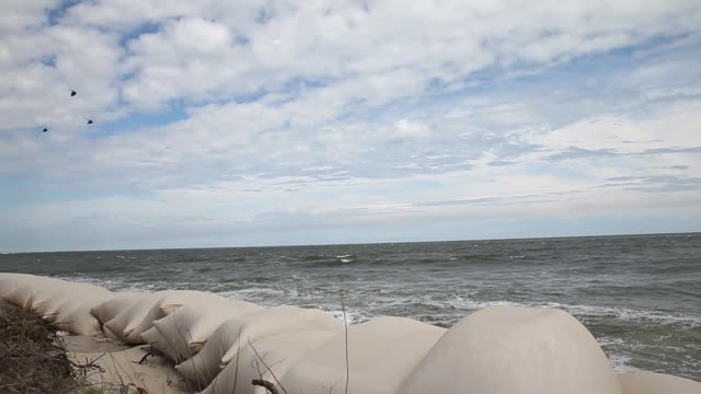 wide shot helicopters over sandbags ocean isle beach atmosphere june 20 2013 - aquatisches lebewesen stock-videos und b-roll-filmmaterial