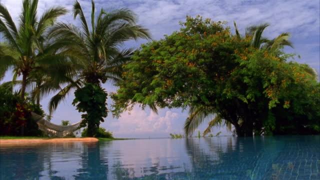 vídeos de stock, filmes e b-roll de wide shot infinity pool bounded by tropical trees / costa careyes, mexico - lago infinito