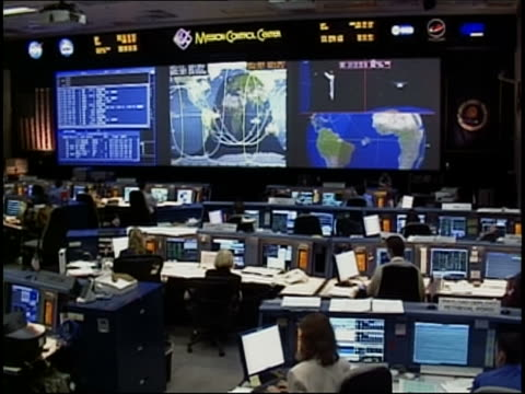 2005 wide shot interior of mission control at kennedy space center during sts 114 / cape canaveral fl - control stock videos & royalty-free footage