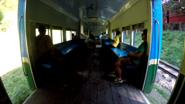 Wide shot Interior Old Circular train of Yangon Shot on January 2016