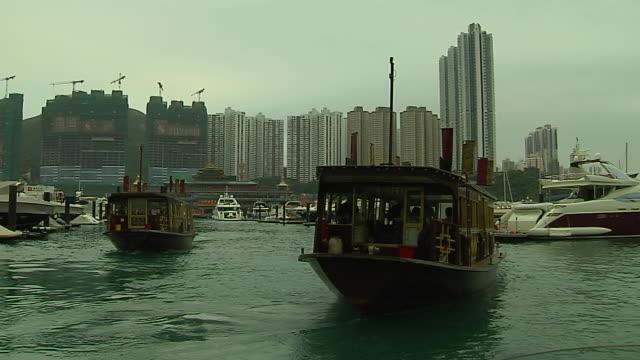 vídeos y material grabado en eventos de stock de wide shot jumbo kingdom restaurant hong kong kwangtung china - restaurante flotante