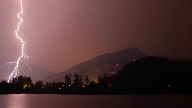 Wide shot lightning bolts flashing over mountain lake at night