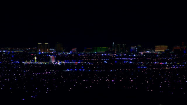 wide shot lights glowing on cityscape/ las vegas, nevada, usa - 2007 stock videos & royalty-free footage