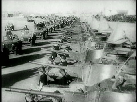 wide shot long row of tanks / china / educational - 1949 bildbanksvideor och videomaterial från bakom kulisserna
