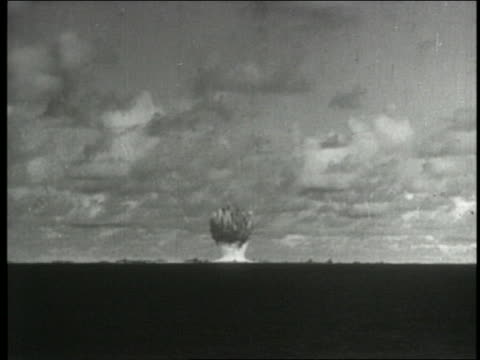b/w 1954 wide shot long shot atom bomb explosion - 1954 stock videos & royalty-free footage