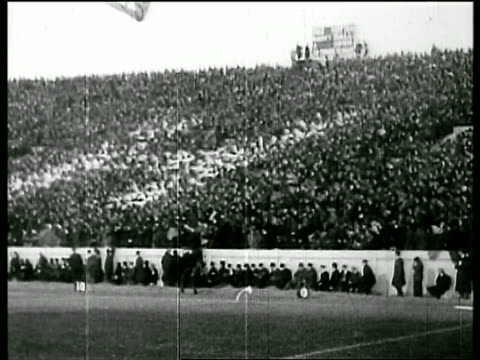 b/w 1905 wide shot long shot crowd in stands cheering at harvard vs yale football game / new haven / newsreel - yale universität stock-videos und b-roll-filmmaterial
