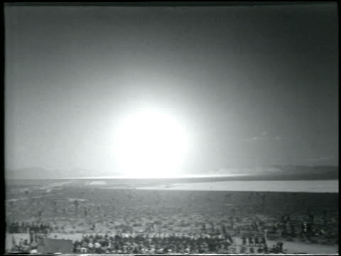 b/w 1952 wide shot long shot hydrogen bomb explosion / yucca flats nevada / newsreel - hydrogen bomb stock videos and b-roll footage