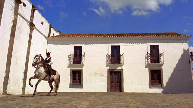 stockvideo's en b-roll-footage met wide shot man on lusitano horse doing dance-like movements (dressage) in courtyard / monsaraz, portugal - alleen één mid volwassen man