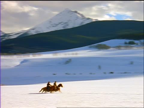 stockvideo's en b-roll-footage met wide shot pan man + woman riding galloping horses through deep snow on plain / silverthorne, co - werkdier
