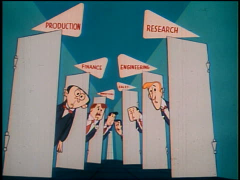1948 ANIMATED wide shot managers of various corporate departments running out of doorways into hall