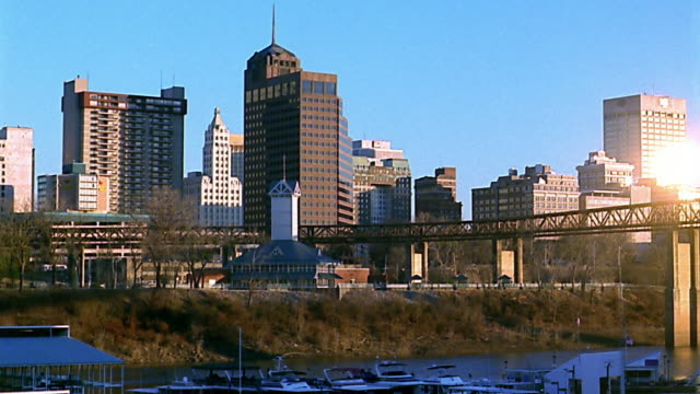 wide shot memphis skyline in winter - memphis tennessee stock-videos und b-roll-filmmaterial