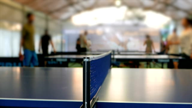 wide shot ìn slow motion of a table tennis game - table tennis bat stock videos & royalty-free footage