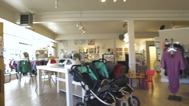 Wide shot of a baby shop during daytime