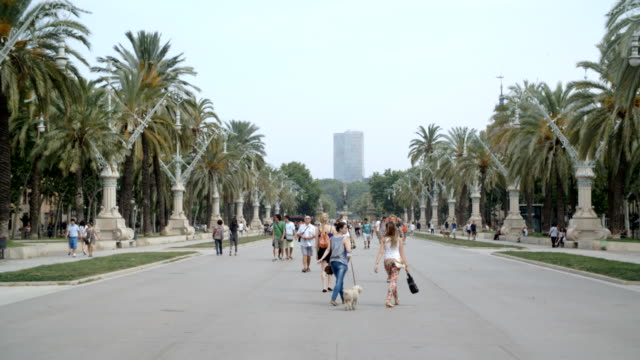 Wide shot of a Barcelona park